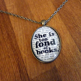 She is too fond of books bibliophile bronze necklace