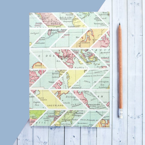 Travel Journal, Writing Notebook - Chevron Pattern And World Map Design