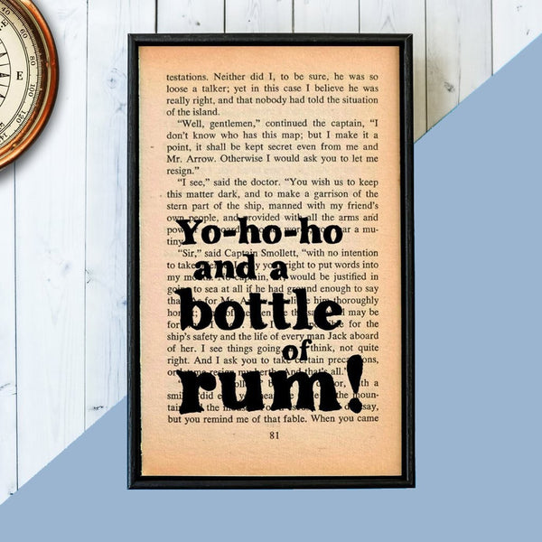 "Treasure Island ""Yo Ho Ho And A Bottle Of Rum"" Quote - Framed Book Page Art"