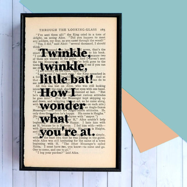 Alice in Wonderland 'Twinkle Twinkle Little Bat' Nursery Quote - Framed Book Page Art