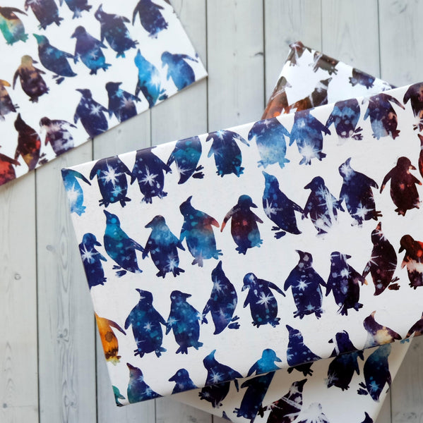 Wrapping Paper Sheets - Christmas Celestial Penguin Design