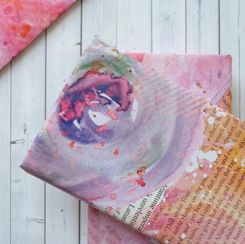 Wrapping Paper Sheets - Book Page And Watercolour Pink Blot Design