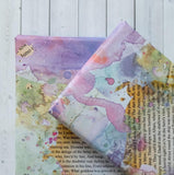 Wrapping Paper Sheets - Book Page And Purple Watercolour Blot Design