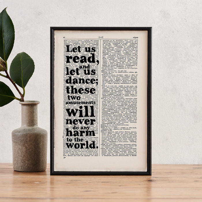 "Voltaire ""Let Us Read And Let Us Dance"" Quote - Framed Book Page Print"