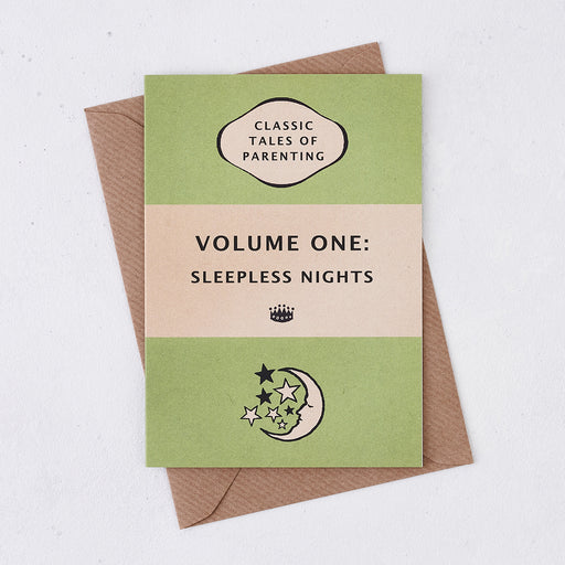 "New Baby Card ""Volume One: Sleepless Nights"" - Green Book Cover Design"