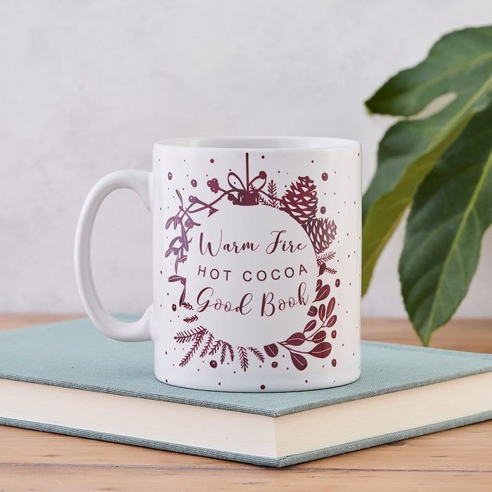 christmas eve mug warm fire hot cocoa good book mug gift