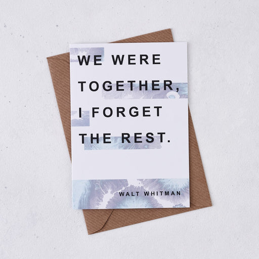 we were together i forget the rest anniversary wedding card marble design