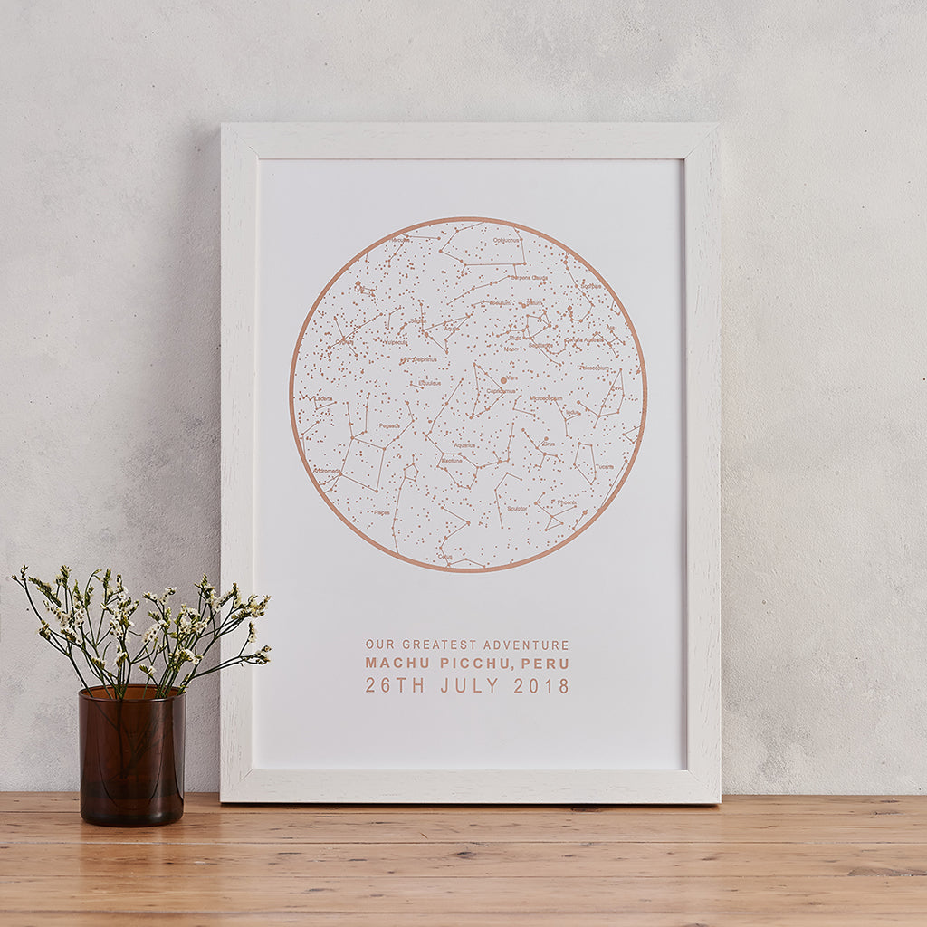 white and copper foil star map print personalised night sky art bookishly