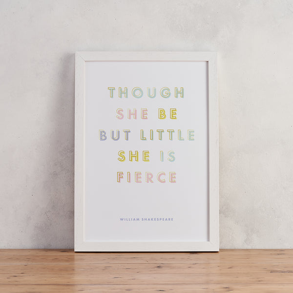 Baby Girl 'Little But Fierce' Pastel & Gold Typography Print