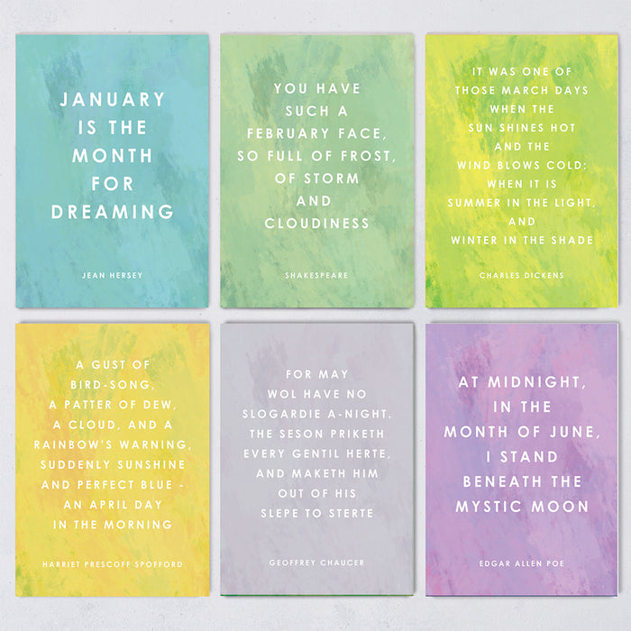 Year of Quotes Postcard Set - Quote for Each Month of the Year - 12 Pack