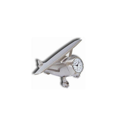 Aeromax - Airplane Clock, Hi-Wing, Metal, Silver | N TRE 502