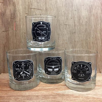 Trintec - Aircraft Instrument 4-Piece Glass Tumbler Set | IWT-01