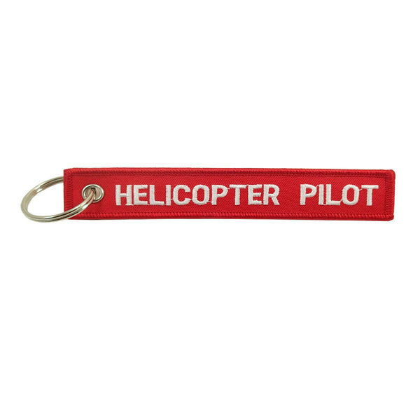 Helicopter Pilot Embroidered Key Chain
