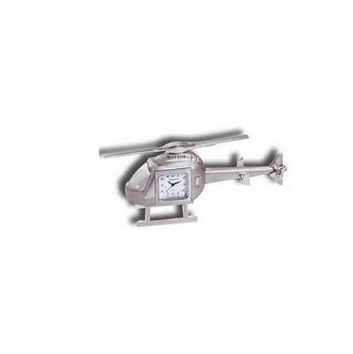 Aeromax - Helicopter Desk Clock, Metal, Silver | NAPX520
