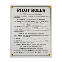Tom Rubin Ent - Metal Sign, Pilot Rules | NAPX401