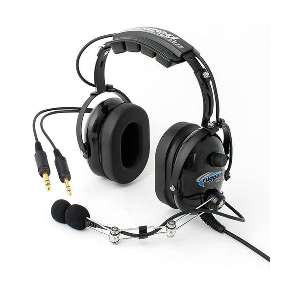 Rugged Air - RA454 Black General Aviation Stereo Pilot Headset