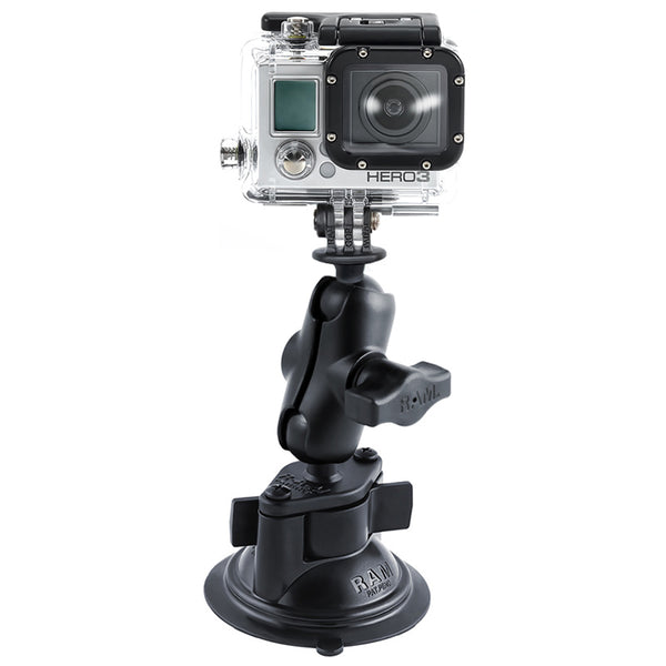 Ram - Twist Lock Suction Cup Mount Short Double Socket Arm With Custom Gopro Hero Adapter | RAM-B-166-A-GOP1U