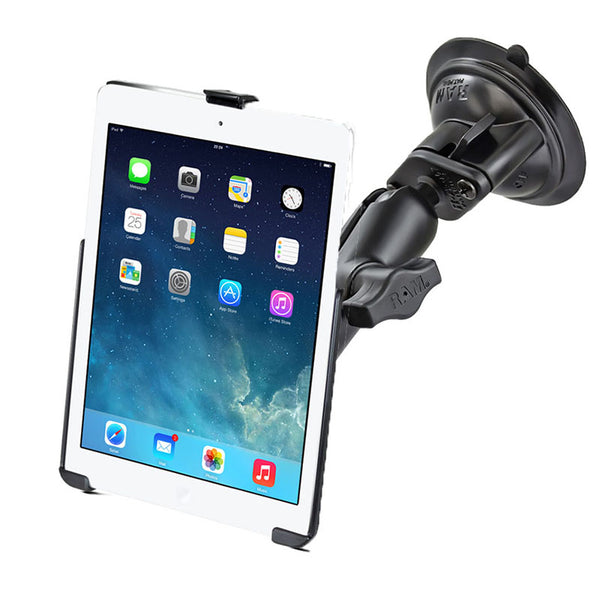 Ram - Single Suction Cup  Double Socket Medium (3.69) Ipad Air 1-2 Ez-Roll'R™ | RAM-B-166-AP17U