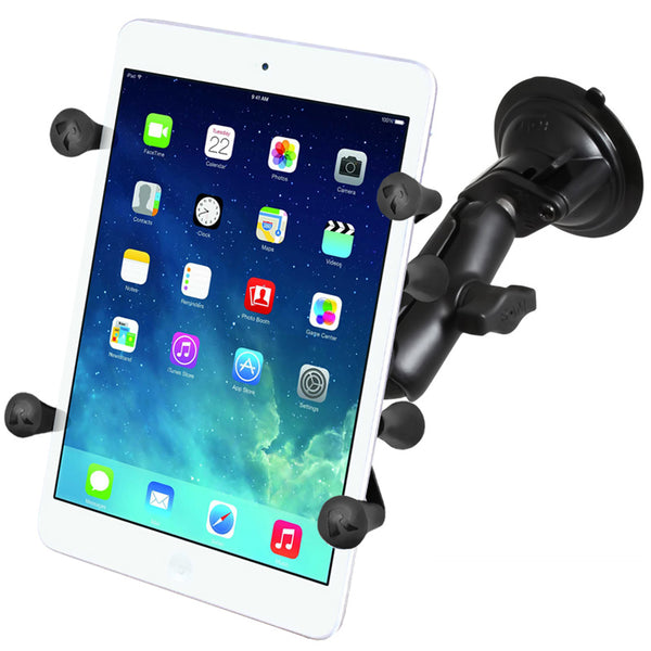 Ram - Twist Lock Single Suction Cup With Long Double Socket Arm And Unviersal X-Grip For Ipad Mini | RAM-B-166-C-UN8U