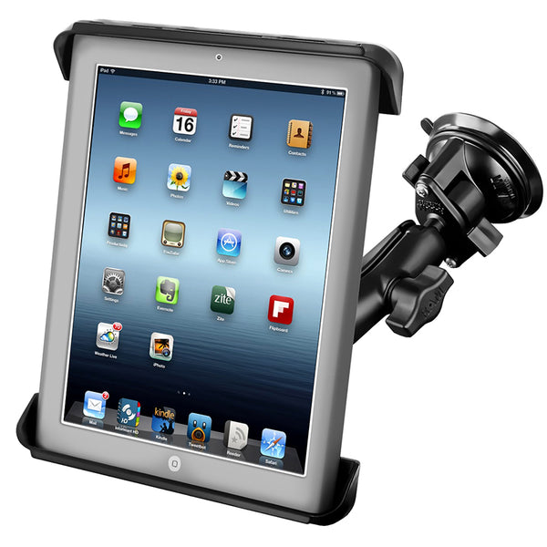Ram - Twist Lock Suction Cup Mount With Tab-Tite Case For Ipad 1-4 With Or Without Case | RAM-B-166-TAB3U