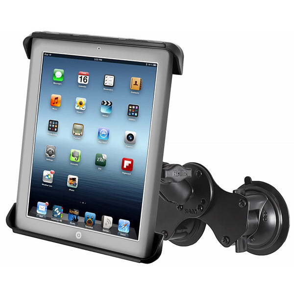Ram - Double Twist Lock Suction Cup Mount With Tab-Tite Cradle For Ipad Air | RAM-B-189-TAB3U