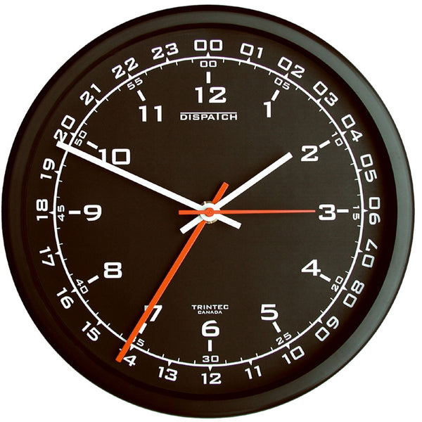 Trintec - Zulu Time Wall Clock, Black Face, 10"