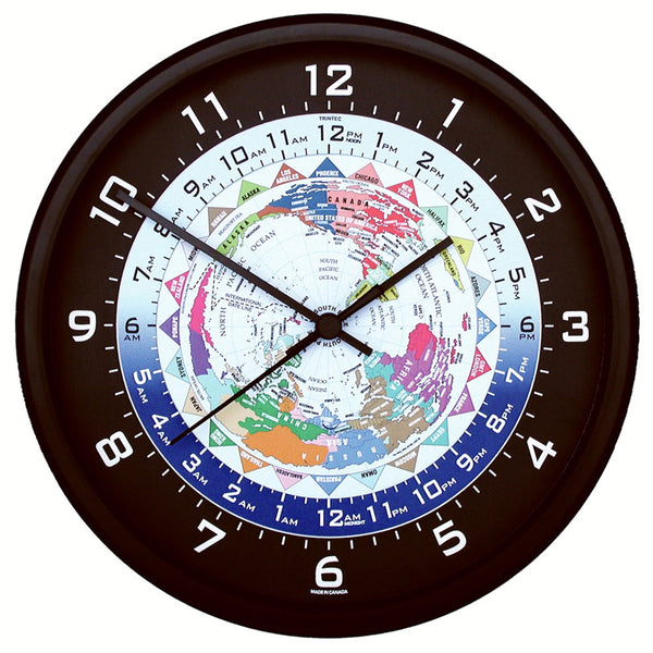 Trintec - World time clock, Black Frame, 10"