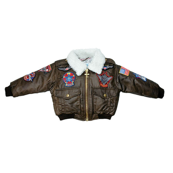 Youth Brown Bomber Jacket with Patches