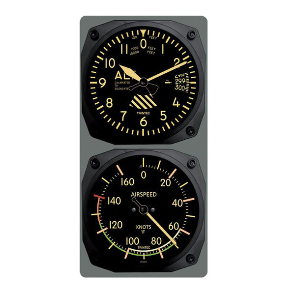 Trintec - Vintage Altimeter/Airspeed Clock & Thermometer Set (°F or °C) | 9060V/9061VF