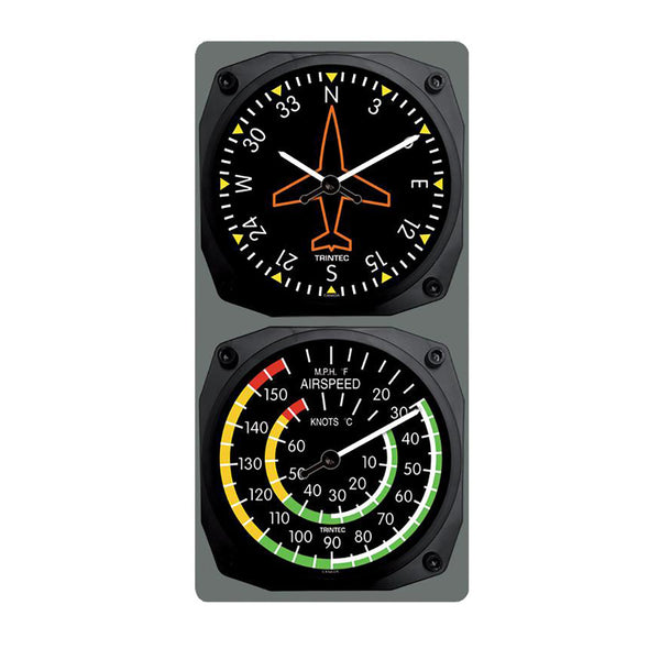 Trintec - Classic Directional Gyro/Airspeed Clock & Thermometer Set | 9062/9061