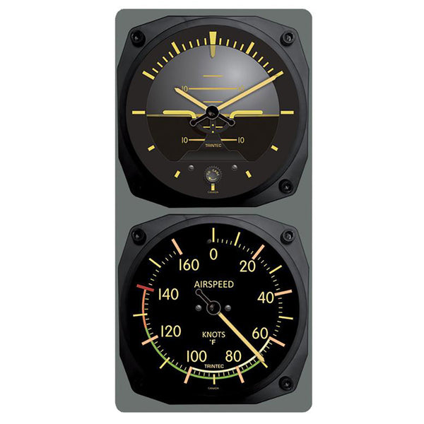 Trintec - Vintage Artificial Horizon /Airspeed Clock & Thermometer Set (°F or °C) | 9063V/9061VF