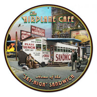 Vintage Signs - Airplane Cafe 28in x 28in | LG006