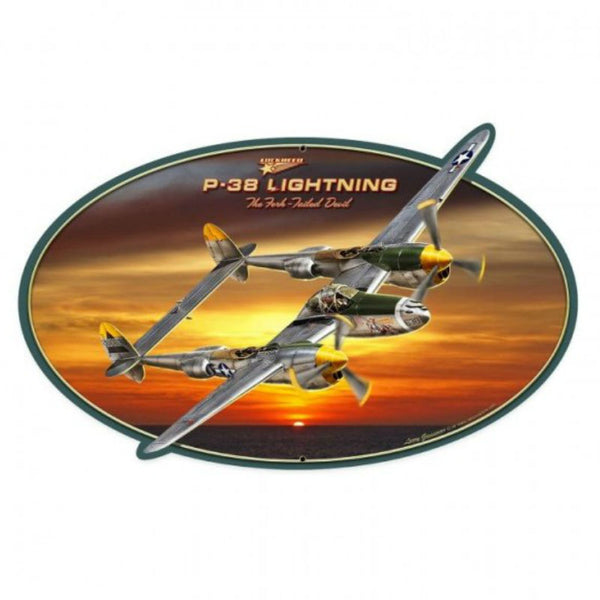 Vintage Signs - P-38 Lightning 28in x 18in | LG529