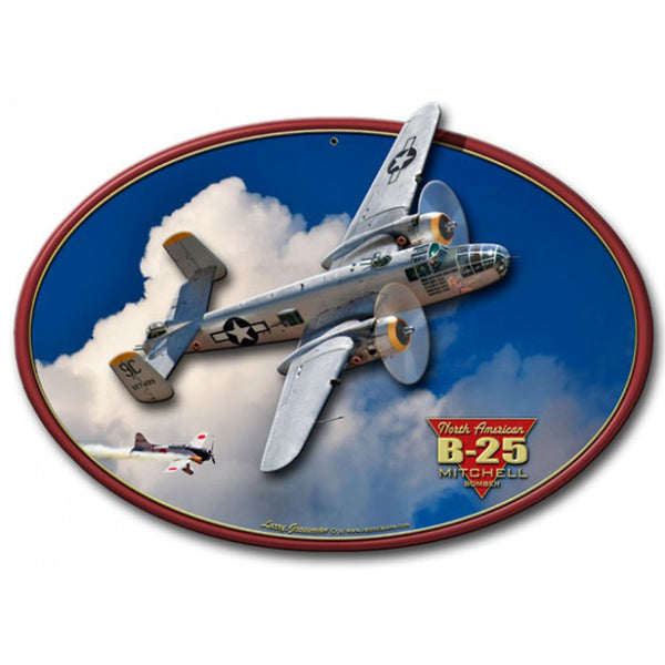 Vintage Signs - 3-D B-25 MITCHEL BOMBER 20in x 12in | LG682