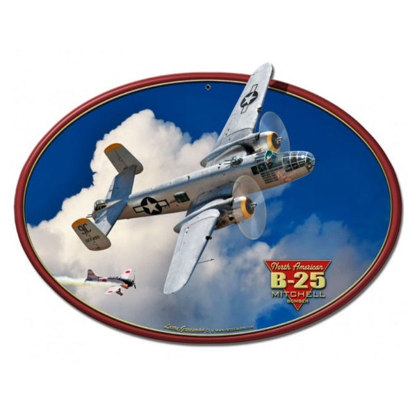 Vintage Signs - B-25 MITCHELL BOMBER 18in x 13in | LG683