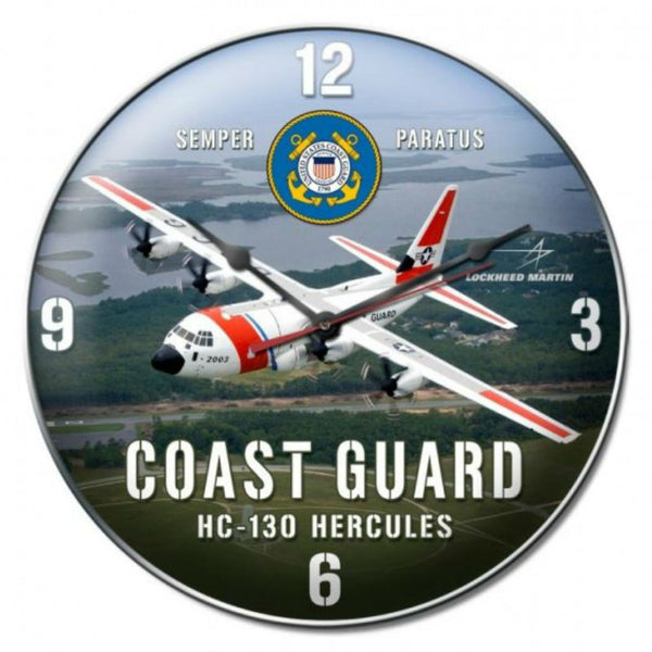 Vintage Signs - Coast Guard C130 Clock 14in x 14in | LM013