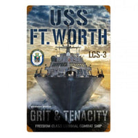 Vintage Signs - USS Ft Worth 12in x 18in | LM017