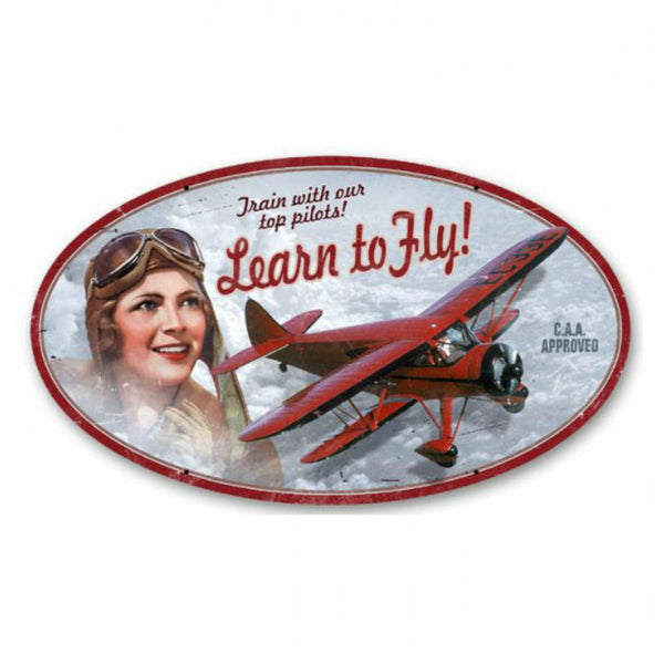Vintage Signs - Learn To Fly 14in x 24in | OS004