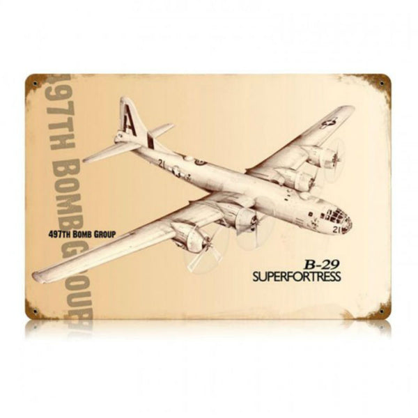 Vintage Signs - B-29 Superfortress 18in x 12in | V355