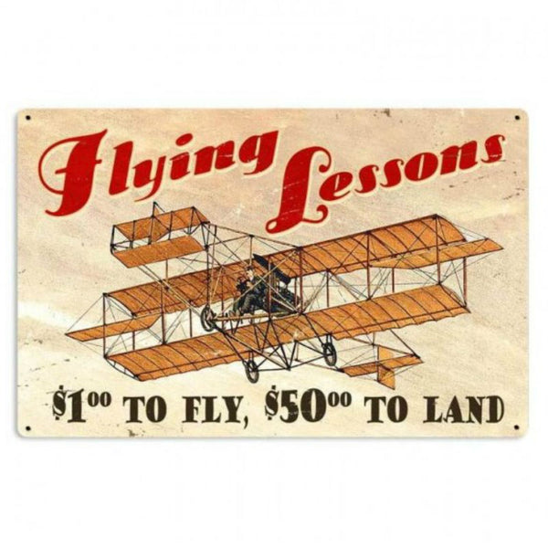 Vintage Signs - Flying Lessons 36in x 24in | VXL163