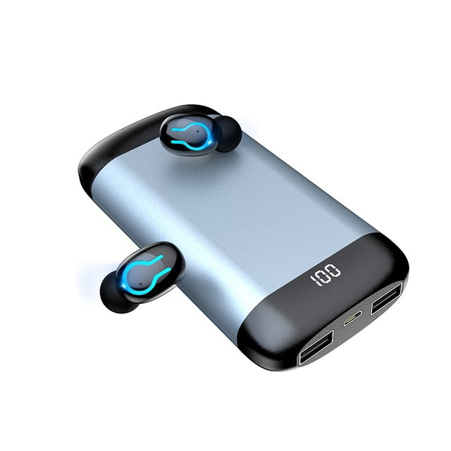 Wireless V5.0 Bluetooth Earphone HD Stereo With Dual Mic and 6000mAh Battery Charge Case