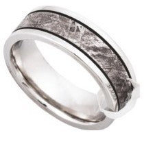 Meteorite Ring Inlay with Inclusions