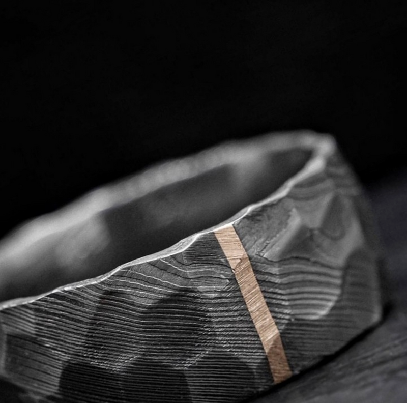 Custom Made Damascus Steel Men's Wedding Band