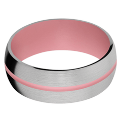 Titanium Men's Wedding Band with Bazooka Pink Cerakote