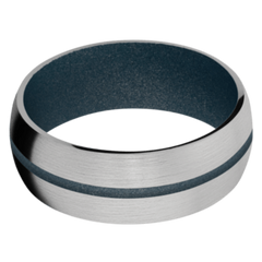 Titanium Men's Wedding Band with Blue Titanium Cerakote