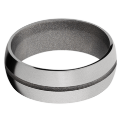 Titanium Men's Wedding Band with Bright Nickel Cerakote