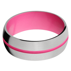 Titanium Men's Wedding Band with Bright Pink Cerakote