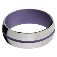 Titanium Men's Wedding Band with Bright Purple Cerakote