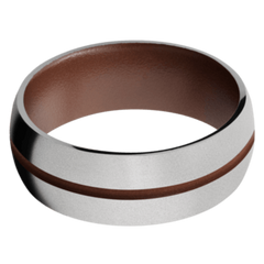 Titanium Men's Wedding Band with Brown Cerakote