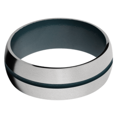 Titanium Men's Wedding Band with Civil Defense Blue Cerakote